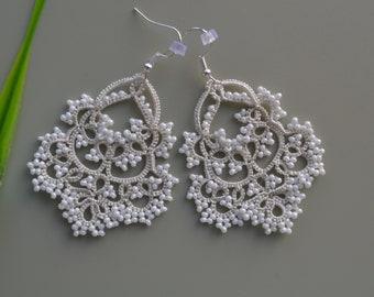 Delicate Lace Earrings - 'Waterfall', Wedding Earrings, Ocasion Jewelry, Tatted Lace Earrings, Gift for women