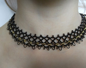 Tatted Lace Black Choker Necklace with Golden Beads - Imperatrice