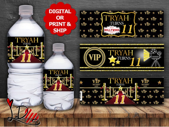 Custom Vip Hollywood Party Printable Water Bottle Label Template Personalized Wedding Water Bottle Diy Editable Pdf Instant Download - vip pass for bank vualt with robux roblox