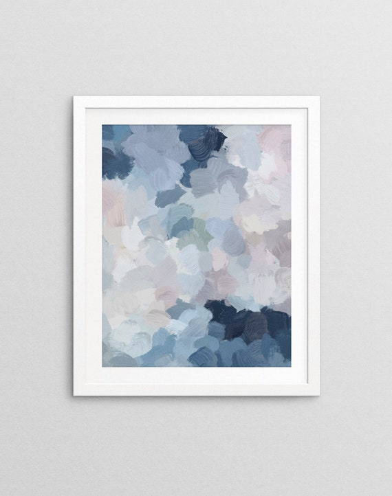 Navy Indigo Gray Blue Blush Pink Lavender Abstract Floral Spring Wall Art Printable Art Botanical Feminine Painting Nature Modern Wall