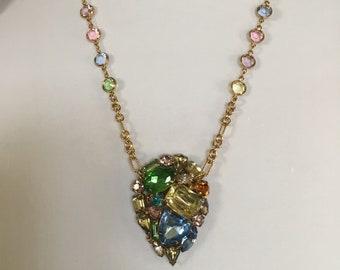 Vintage Pastel Rhinestone Necklace