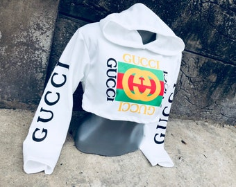 aac6ea93503 Reworked ClassiC BrandZ GUCCI inspired Vintage Green Logo and written on  the arms Brallette Bandeau Tube Top Crop Bra Tommy Sweater