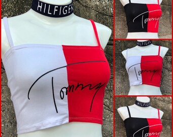 616654b6cef917 Reworked ClassiC BrandZ Tommy Hilfiger inspired Halter Top Bralette Bandeau  Tube Top Crop Tommy Boob Bra Tommy Crop Vintage Aaliyah Look 2