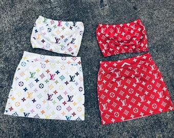 74d8ab06325 Reworked ClassiC BrandZ SUPREME LV inspired Bralette Set Skirt and Top  Bandeau Tube Top Crop Tommy Boob Bra Tommy Crop Vintage Aaliyah Look