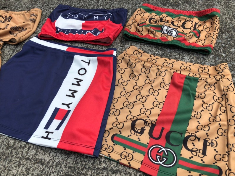 d64a95621be171 Reworked ClassiC BrandZ TOMMY GUCCI inspired Bralette Set