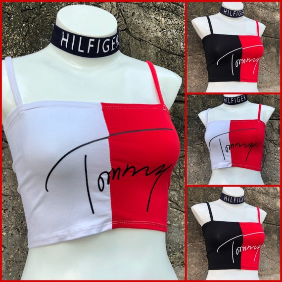 932098a8777ed Reworked ClassiC BrandZ Tommy Hilfiger inspired Halter Top | Etsy