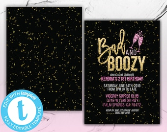 Bad And Boozy 21st Birthday Party Invitation Printable 30th 18th Bash Invite 25th Bday