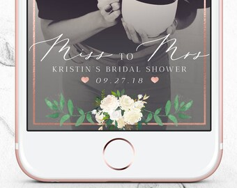 miss to mrs bridal shower snapchat filter rose gold floral geo filter personalized wedding shower snap chat geofilter 24 hour turn around