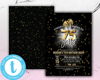 Printable Cheers And Beers To 75 Years Birthday Party Invitation Template For Men Women Him Dad 75th