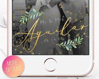 Wedding Snapchat Filter Gold,  Wedding Snapchat Filter Greenery, Snapchat Filter Wedding, Wedding Geotag, Wedding Snap Chat Geo Filter