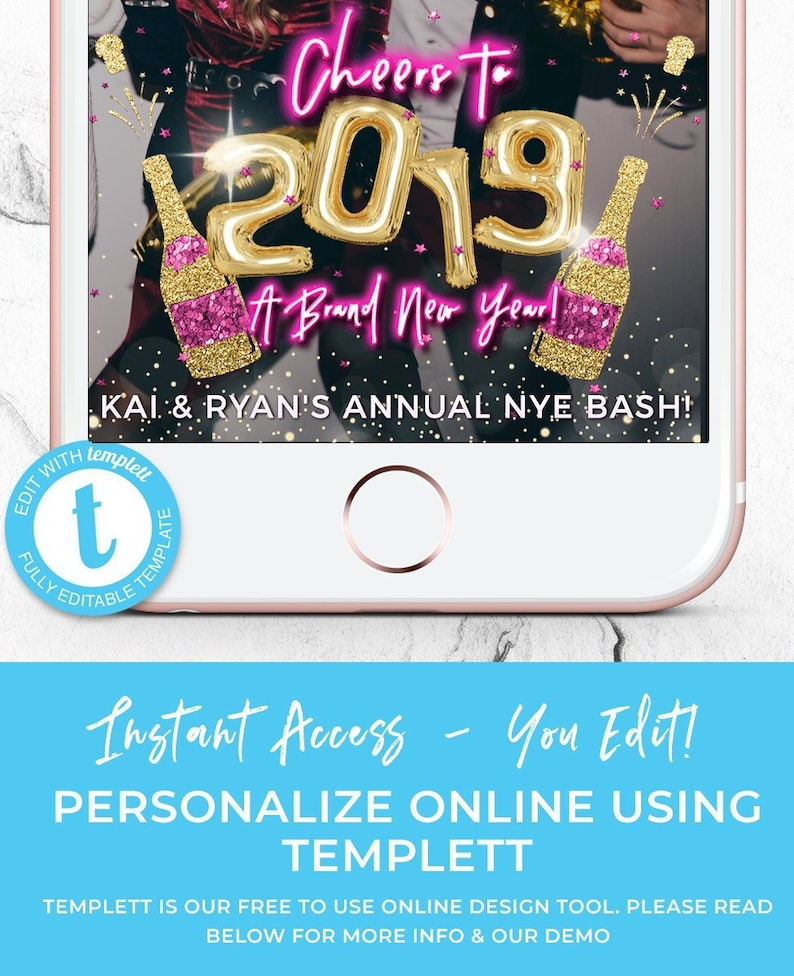 New Years Eve Party 2019 Snapchat Filter, NYE Geotag, Champagne Pop  Geofilter, Pink, Gold Balloon Letters, Neon Sign Light, Instant Download