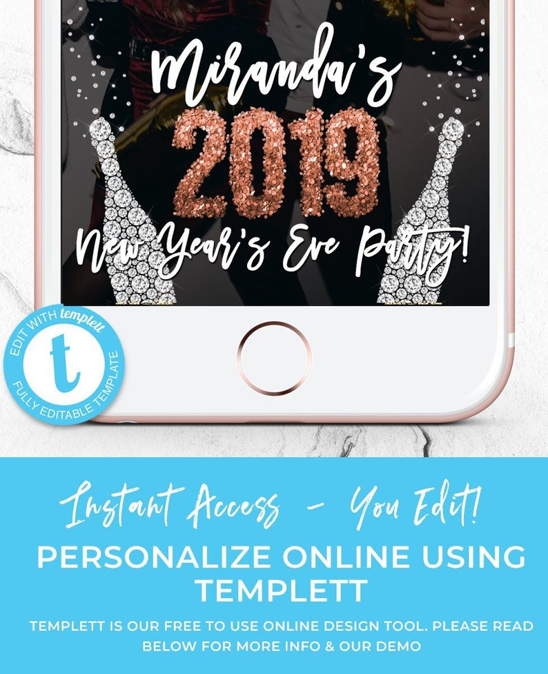 New Years Eve Party 2019 Snapchat Filter, New Year's Eve Geofilter, New  Years Eve Geotag, NYE Filter, Happy New Year, Instant Download, Snap