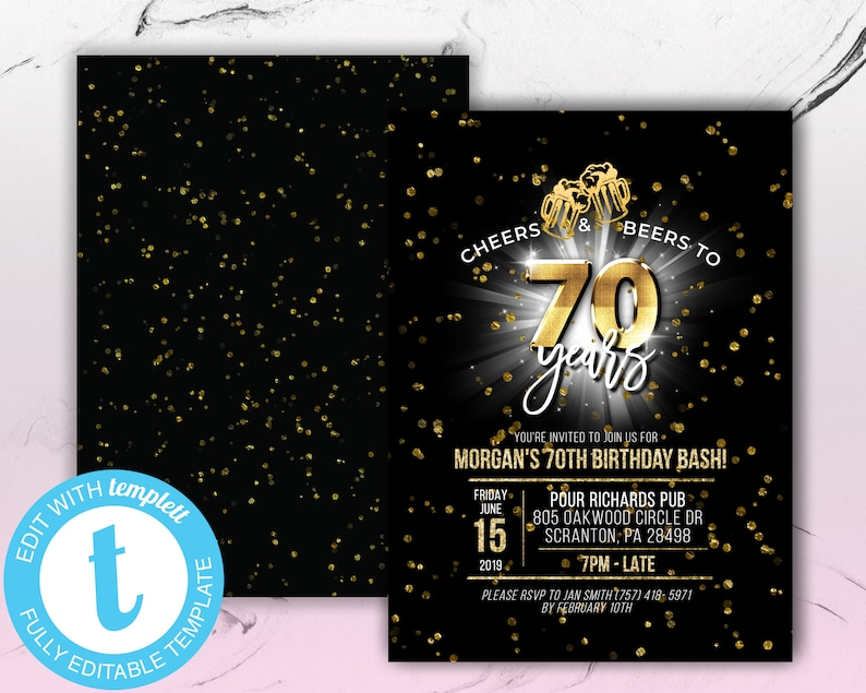 Printable Cheers And Beers To 70 Years Birthday Party