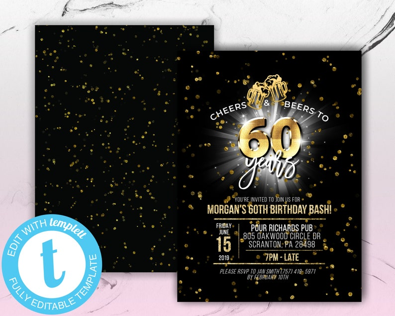 Cheers Beers To 60 Years Birthday Invitation Template