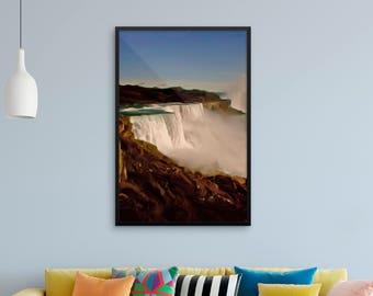 """Classic landscape painting """"Majestic Niagara Falls"""" by Malinee Ganahl. Fine Art Lustre Print.  Outdoor nature scene of iconic waterfalls."""