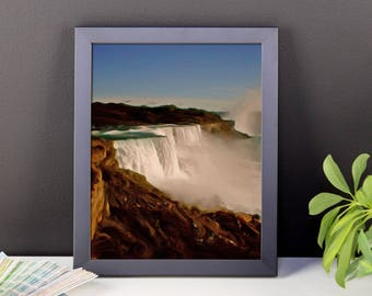 """Classic landscape painting """"Majestic Niagara Falls"""" by Malinee Ganahl. Framed Fine Art Lustre Print.  Outdoor nature iconic waterfalls."""