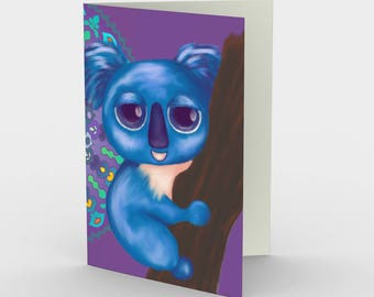 """Notecards: Cute Animal Illustration """"Cirque Koala"""" by Malinee Ganahl. Whimsical blue bear on patterned background. Set of 3."""