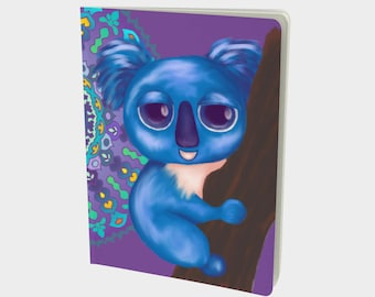 """Journal (Lg) Cute Animal Illustration """"Cirque Koala"""" by Malinee Ganahl. Notebook, Sketchbook. Plain, ruled, grid, or bullet pages. 7.25""""x10"""""""