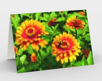 """Notecards: Vibrant, Modern Illustration """"Bee in Flower Bed"""" by Malinee Ganahl. Bright red, yellow, green garden. Set of 3 with envelopes."""