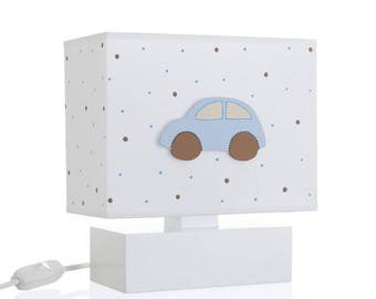 Bedside Table Nursery Night Lamp With 3D Hand Painted Wooden Blue Brown Beige Car For Kids P1048