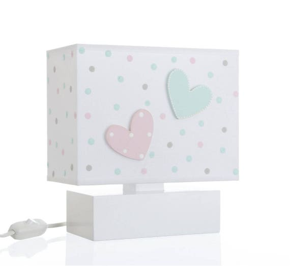 Bedside Table Lamp With 3D Hand Painted Wooden Lion /& Heart for Kids P1019