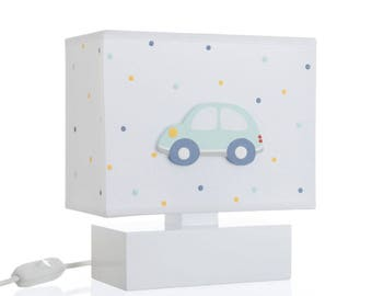 Bedside Table Nursery Night Lamp With 3D Hand Painted Wooden Mint Car For Kids P1042