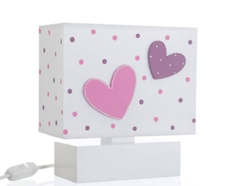 Bedside Table Nursery Night Lamp With 3D Hand Painted Wooden Violet Pink Heart's For Kids P1052