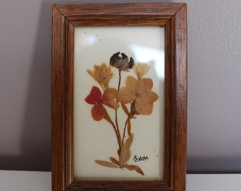 Small frame Herbarium, clovers, wood, wall decor, vintage frame