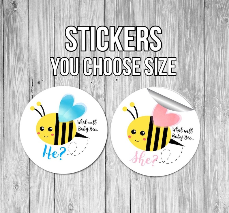 Gender Reveal Stickers bee gender reveal he or she stickers gender reveal party ideas bee gender reveal pink or blue what will it bee