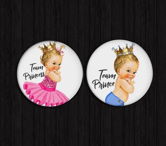 Gender Reveal Pins prince princess buttons gender reveal ideas gender reveal pin team boy team girl team pink team blue pins
