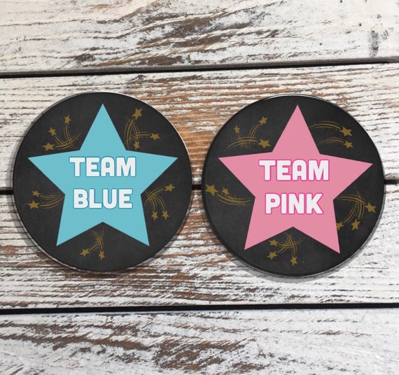 Gender Reveal pin buttons Girl button Boy Button baby button gender reveal ideas gender reveal button pin stars