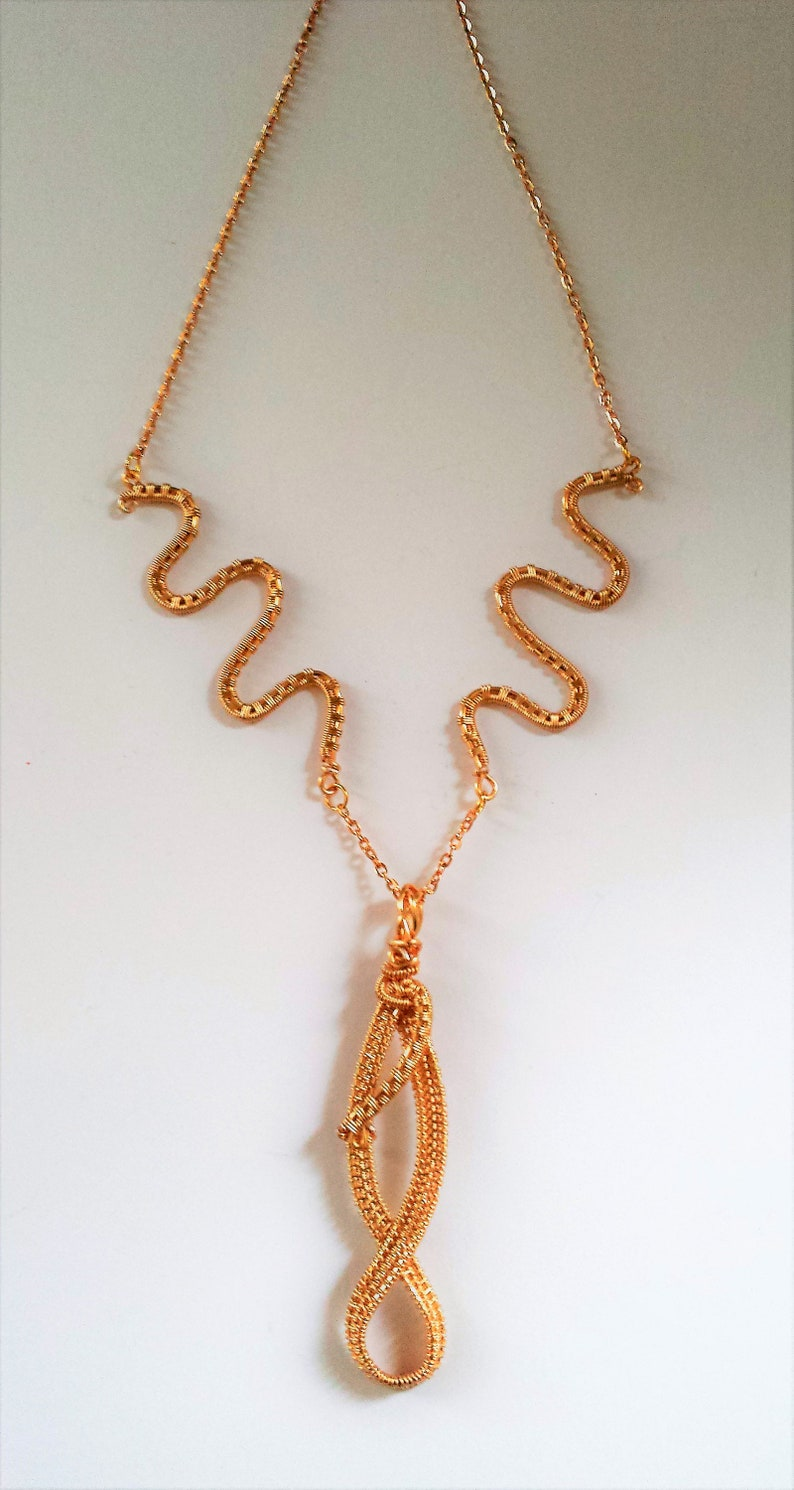 Gift for her Gift for Girlfriend Handmade Boho Champagne Gold Wire weaved Statement necklace with Infinity pendant