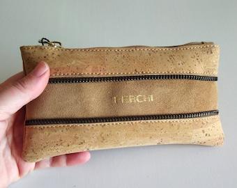 Cork zipper pouch, mens gift, husband gift, mens toiletry bag, vegan gift, boyfriend gift, best selling items,eco friendly gifts, minimalist