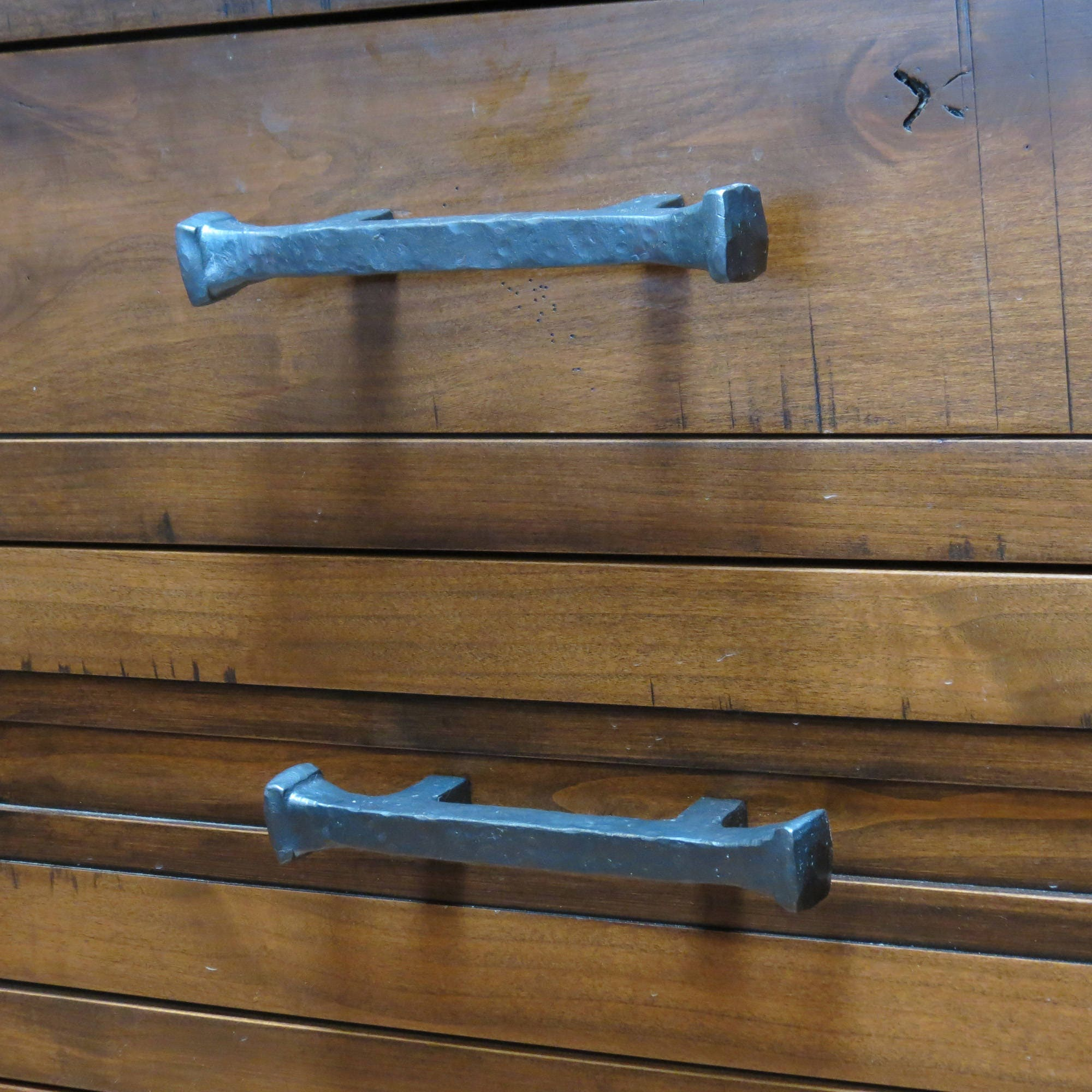 """11"""" Rustic Hand Forged Hammered Square Knob Drawer Pull"""