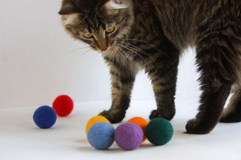 Cat toy felted cat balls rainbow wool balls handmade image 0