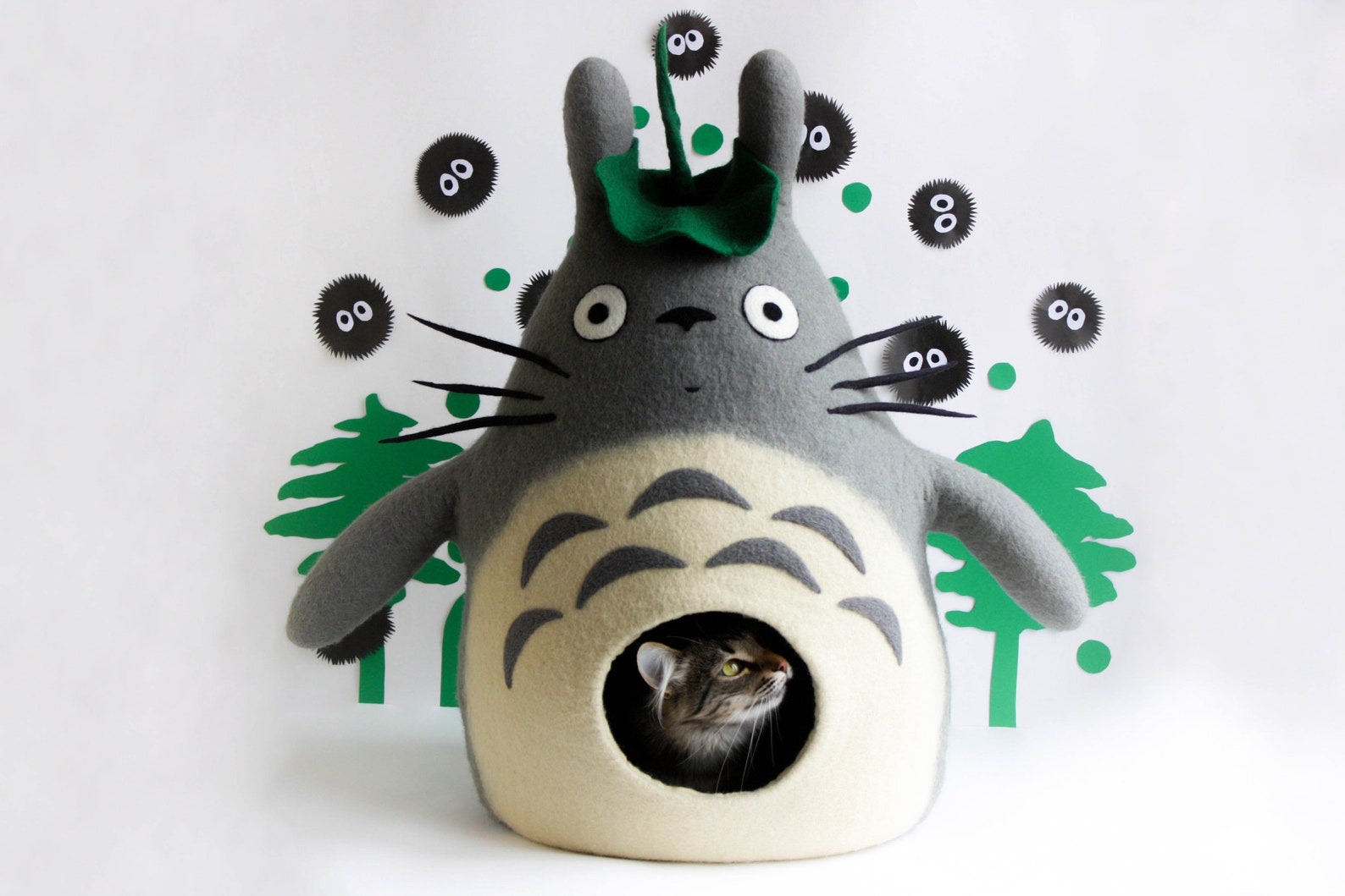 cat house Totoro, felted pet bed