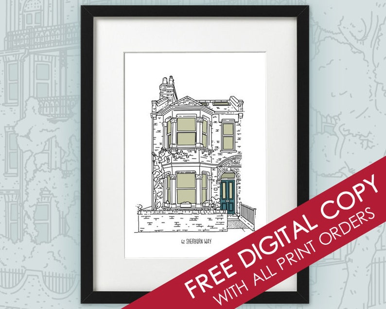 Personalised Custom House Portrait / Home Illustration / FREE image 0