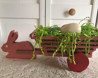 Primitive Easter Folk Art Bunny with Cart