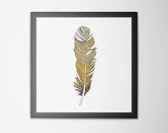 Framed Ombre Feather Illustration Print