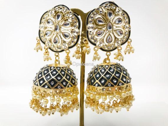 Kundan jhumka earring,meenakari jhumka,pearl drop earring,Gold jhumka,traditional earrings,indian bridal jewelry,Indian mother/'s gift