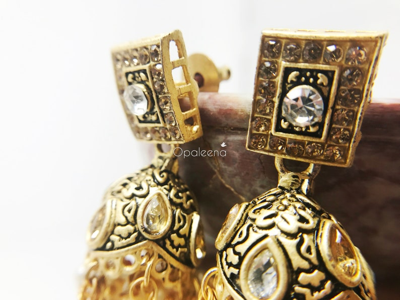 Indian gold earrings wedding earring gift for her valentines day gift Gold jewelry ethnic gold earrings gold dangle earrings wedding jewelry