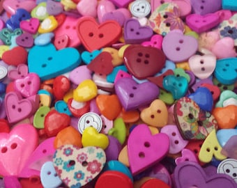 Colorful Heart Buttons, many sizes and styles, random bulk button pack, Choose quantity, Free Shipping