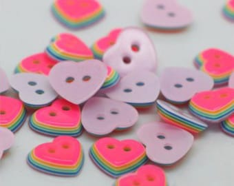 20 Layered Multicolor Heart Buttons, size 11mm, heart shape, 2 holes, matching bulk button pack, cheerful rainbow buttons!