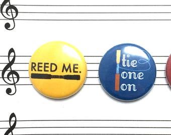 Oboe Pin Set, Reed Me, Oboe Reed Puns, 1 inch Badges, Mini Button Set, Oboe Stocking Stuffer