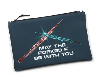 Oboe Zipper Bag, English Horn Bag, Oboe Puns, Forked F, Sci Fi Inspired, Eco Friendly Storage, Musician Gift