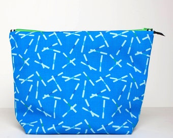 Large Oboe Tool Bag, Musician Organizer, Oboe Reed Scatter Blue, Eco Canvas Tote, Zipper Storage Bag