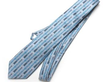 Oboe Necktie, Double Reed Print, Mens Tie, Grey and Aqua Tie, Gift for Oboist, Musician Necktie