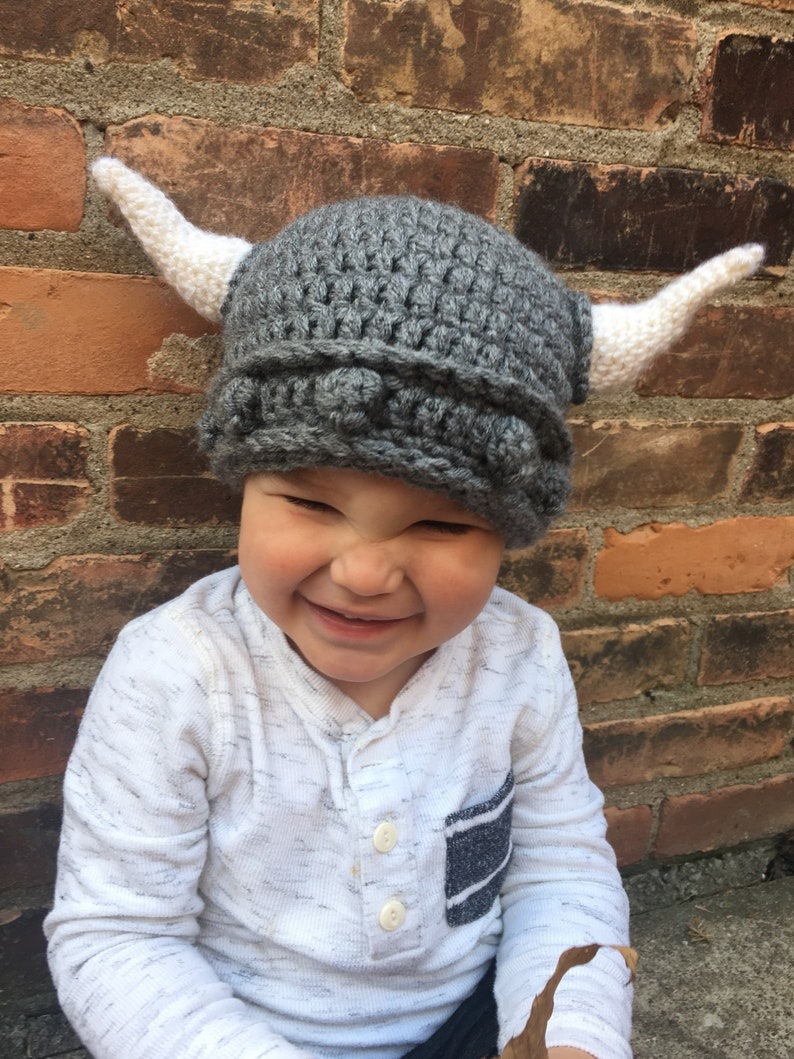 Viking Hat Adult And Child Sizes Crochet Viking Hat Etsy