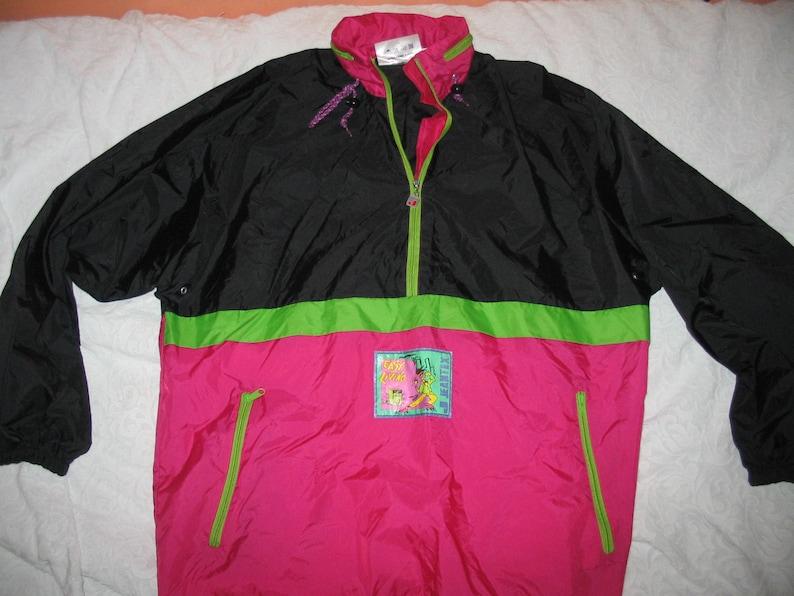 JEANTEX 80 90er Jahre Anorak Rad Jacke Windbraker rosa pink schwarz Neon grün komprimierbare XL