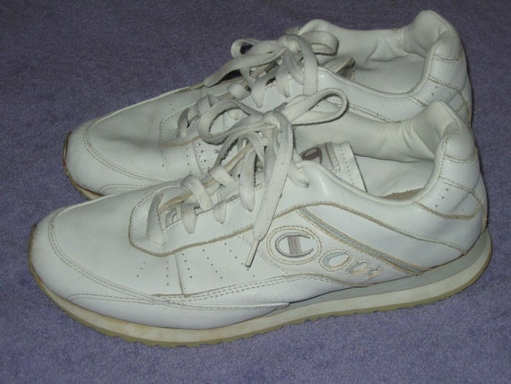 8d544a1d996 Champion white leather dad tennis shoes skeakers 90s 2000s